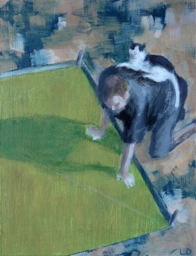Man en kat/olieverf op paneel/20x15/€89,-