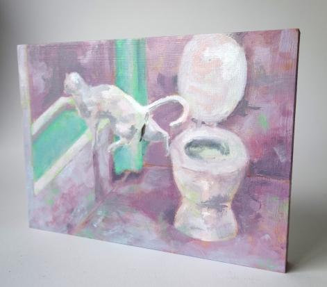 Kat springt van toilet/olieverf op paneel/15x20/€89,-