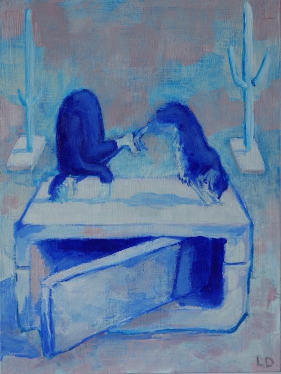 Vrouw en hond/olieverf op paneel/20x15/verkocht
