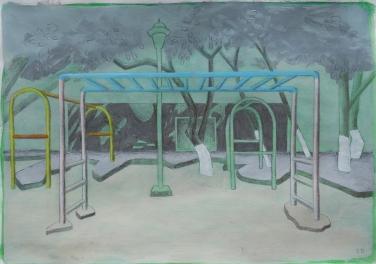 Parque infantil, Calle 5 Alcatraces, Cancun/Acrylverf en potlood op papier/29x21